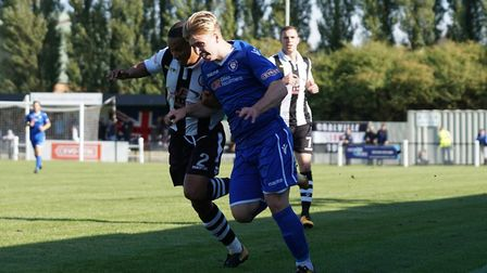 Kieran Higgs in action in Lowestoft Town's 1-0 defeat at Coalville. Picture: Shirley D Whitlow