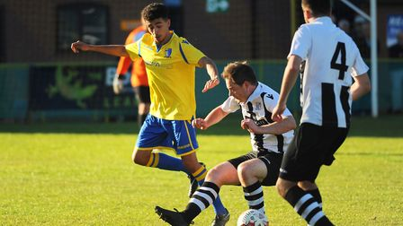 Action from Norwich United against Long Melford. Linton Garrod for Norwich United. Picture: DENISE B