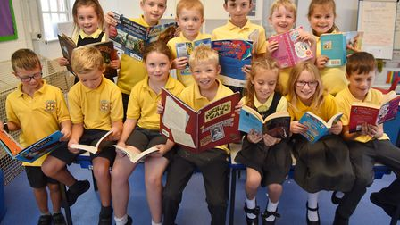 Youngsters at Carleton Rode school delves into a book for the launch of our Books for Schools campai