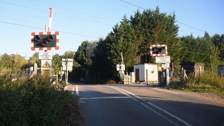 The level crossing at Palgrave where a train and a car were in collision. Picture: DENISE BRADLEY