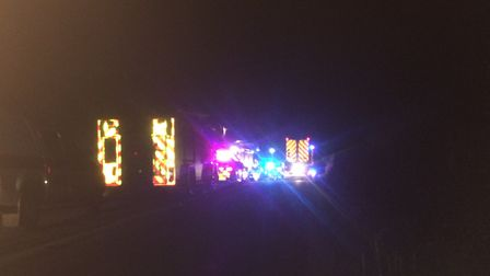The sky was lit up with blue lights, emergency services at the scene in Palgrave on Saturday night.