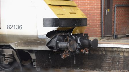 The damaged train involved in the fatal collision with a car at the Palgrave level crossing, parked