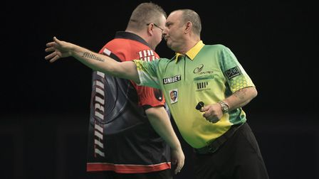 Darren Webster saw off Stephen Bunting in the first round of the Unibet World Grand Prix. Picture: L
