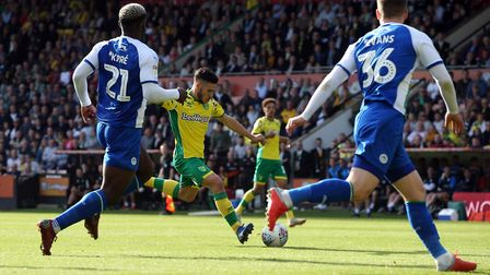 Emiliano Buendia of Norwich has a shot on goal during the Sky Bet Championship match at Carrow Road,