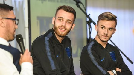 Angus Gunn and James Maddison at Norfolk County FA Volunteers' Awards evening. Picture: Trevor Fulle