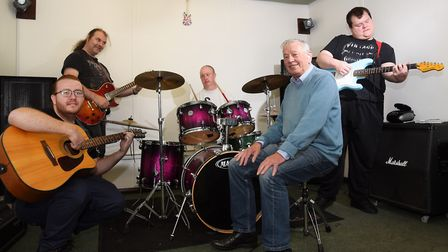 Some of the musicians who benefit from the Black Dog project, helping with mental health issues, wit