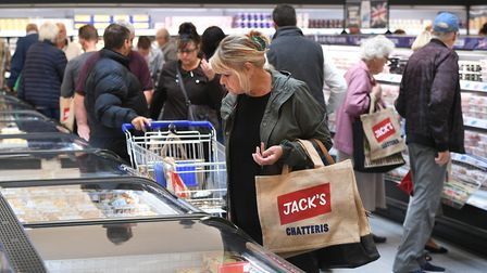Customers shop in Tesco's new Jack's store in Chatteris, Cambridgeshire, as it opens to the public f
