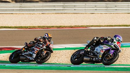 Michael Russell chases Michael Tustin in the Ducati TriOptions Cup. Picture: Barry Clay