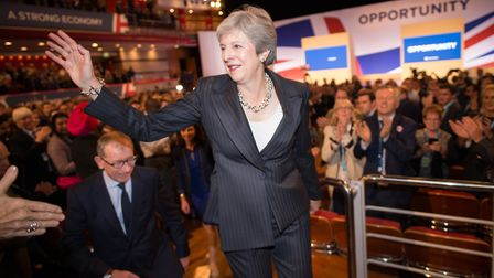 Prime Minister Theresa May and her husband Philip meet supporters after delivering her keynote speec