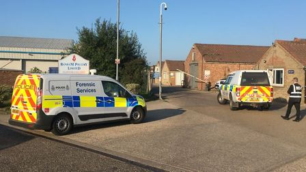 Police at the Banham Poultry factory in Attleborough following an incident. Picture Simon Parkin.