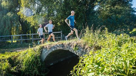 Neil Featherby, Jason Wright and Charles Allen on a training run ahead of their Hadrian's Wall chall