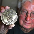 Reg Parker, who has died at the age of 89, with his award for 50 years service to football. PHOTO: A