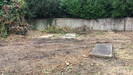 Headstones have been removed but graves remain at the former burial ground in Croft Lane in Diss. Pi