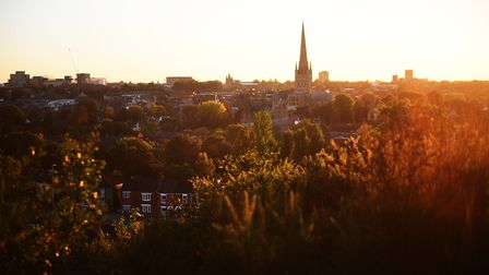 Sunset over Norwich from Britannia Road in Moushold Heath.Picture: ANTONY KELLY