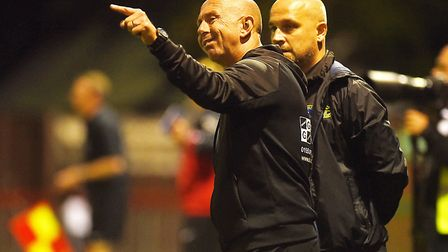Neil Fryatt makes a point to fellow joint manager Robbie Back Picture: Ian Burt