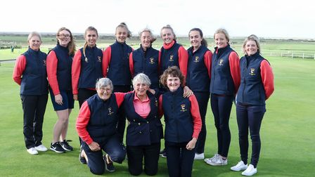 Norfolk Ladies line up for a team picture at Royal North Devon. Back row (left to right): Jo Ashmore