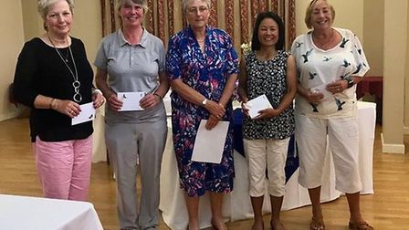 The winning Bawburgh team pictured with the Ladies Captain of Wensum Valley Sara Bland Picture: LIZ