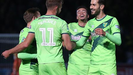 Jordan Rhodes is congratulated on the second of his three goals at Wycombe Picture: Paul Chesterton/