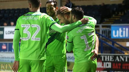 All together now - Jordan Rhodes celebrates after scoring the fourth goal at Wycombe Picture: Paul C