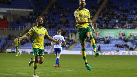 Mario Vrancic jumps for joy after hitting City's winner at Reading last night. Picture: Paul Chester