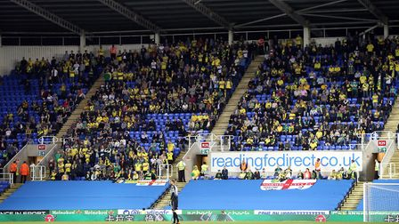 The traveling Norwich fans during the Sky Bet Championship match at the Madejski Stadium, ReadingPic