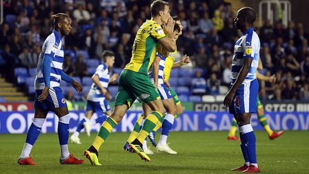 Christoph Zimmermann of Norwich rues a missed chance during the Sky Bet Championship match at the Ma
