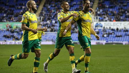 Mario Vrancic of Norwich celebrates scoring his side's 2nd goal during the Sky Bet Championship matc