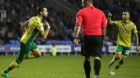 Mario Vrancic wheels away to celebrate scoring what proved to be Norwich City's winner at Reading. P