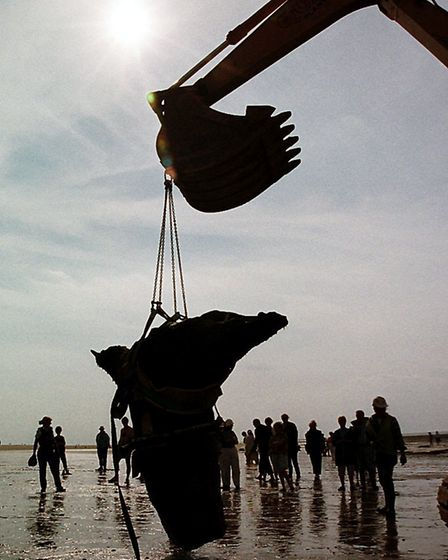 The central stump is lifted clear of the beach Picture: Archant