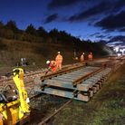 Network Rail engineers work on the Norwich, Yarmouth, Lowestoft improvements. Picture: Network Rail