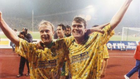 Jeremy Goss and Rob Newman celebrate City's victory at Bayern in 1993 Picture: Simon Finlay/Archant