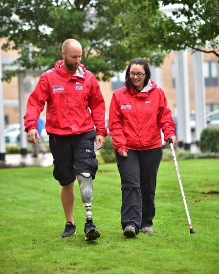 Walking with the Wounded's Walk of Britain team at the N&N Hospital. Naomi Adie with Matt Fisher. Pi