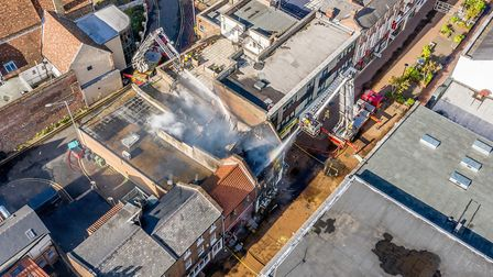 Drone images show extent of damage following a major fire in King's Lynn High Street. Picture: Matth
