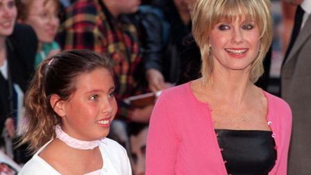 Olivia Newton-John and daughter Chloe in London at the 20th anniversary re-issue of the musical Grea