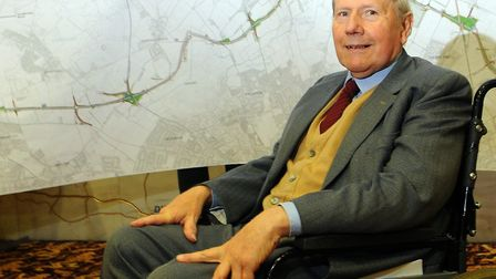 Adrian Gunson, with plans for the Norwich Northern Distributor Road. Pic: Adrian Judd