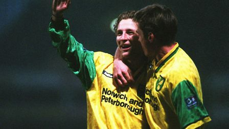 Darren Eadie's health was closely monitored when he played for Norwich City, here celebratign scorin