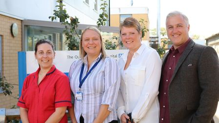 Gemma Harnwell and Rachael Johnson with festival organisers Deanna and Nick Wright. Picture: QEH