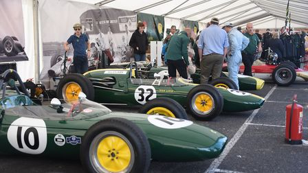 Activity around the Classic Team Lotus F1 racing cars at the 70th anniversary of Lotus event. Pictur