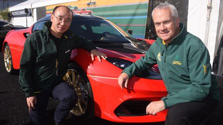 Qingfeng Feng, left, chief executive at Lotus, with Clive Chapman, managing director of Classic Team