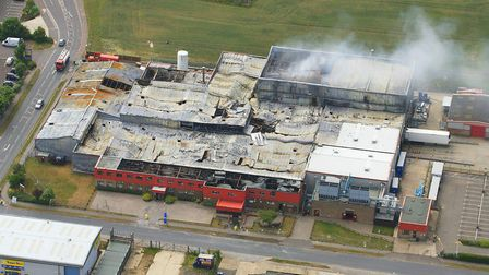 The aftermath of the blaze at the Wessex Food factory in 2010.