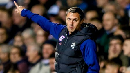 Town manager Paul Hurst pictured during the Ipswich Town v Middlesbrough defeat. Picture: STEVE W