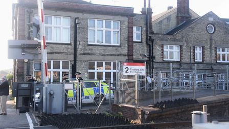 Police at Banham Poultry, next to the Attleborough Railway Station, after two pest controllers were