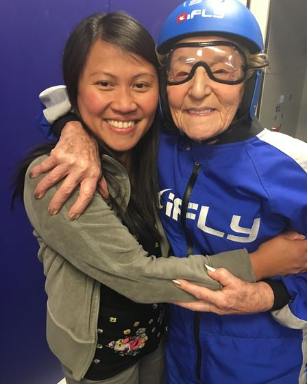 Goodwins Hall area manager Joan Agcaoili with 99-year-old Joan Phillips at iFly in Milton Keynes. P