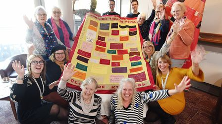 Cloth of Kindness handed over from the Norwich Theatre Royal's Creative Matters group to the Trust D