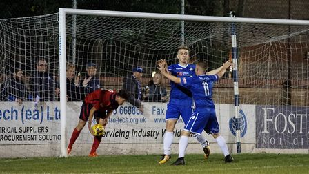 Kieran Higgs celebrates the first of his three goals against St Neots. Picture: Shirley D Whitlow