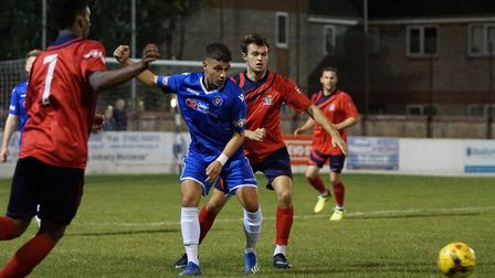Danny Pinheiro in action for Lowestoft Town against St Neots. Picture: Shirley D Whitlow