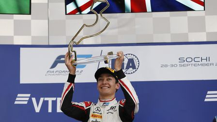 George Russell celebrates his sixth FIA Formula Two victory on the Sochi, Russia, podium. Picture: Z
