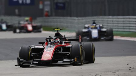 Norfolk racer George Russell on his way to victory number six in the FIA Formula Two Championship he