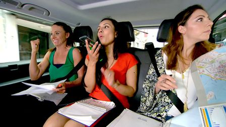 The Apprentice - Sarah, Jasmine and Jackie in the back of a taxi - (C) Taylor Herring