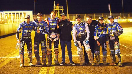 The King's Lynn Stars line-up after the meeting, (from left) Niels-Kristian Iversen, Thomas Jorgense
